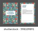 vintage flower background for... | Shutterstock .eps vector #598109891