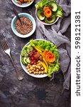 buddha bowl. healthy vegetarian ... | Shutterstock . vector #598121381