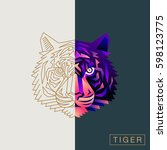 thin line and abstract tiger...   Shutterstock .eps vector #598123775