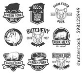 farm fresh pork meat emblems.... | Shutterstock .eps vector #598123949