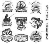 set of trout fishing emblems... | Shutterstock .eps vector #598124621