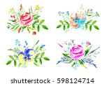 floral composition of a flowers ... | Shutterstock . vector #598124714