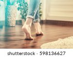 floor heating. young woman... | Shutterstock . vector #598136627