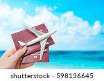 airplane passport flight travel ... | Shutterstock . vector #598136645