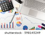 data analysis   workplace with... | Shutterstock . vector #598145249