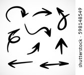 hand drawn arrows  vector set | Shutterstock .eps vector #598148549