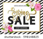 spring sale with beautiful... | Shutterstock .eps vector #598148825
