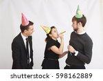 happy coworker celebrate... | Shutterstock . vector #598162889