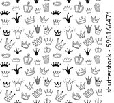 hand drawn princess crowns... | Shutterstock .eps vector #598166471