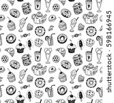 seamless pattern with hand... | Shutterstock .eps vector #598166945