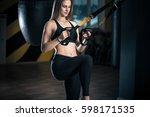 beautiful muscular woman doing... | Shutterstock . vector #598171535
