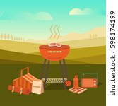 illustration of a barbecue... | Shutterstock . vector #598174199
