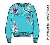 trendy women sweatshirt with... | Shutterstock .eps vector #598174655