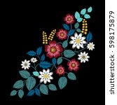 embroidery ethnic flowers on... | Shutterstock .eps vector #598175879