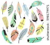 set of vector feathers | Shutterstock .eps vector #598179971