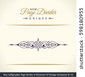 calligraphic page divider and... | Shutterstock . vector #598180955