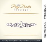 calligraphic page divider and... | Shutterstock . vector #598180961