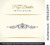 calligraphic page divider and... | Shutterstock . vector #598181099