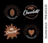 set of chocolate hand written... | Shutterstock .eps vector #598183235