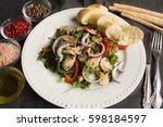 salad with chicken  onion ... | Shutterstock . vector #598184597