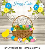 happy easter greetings   easter ... | Shutterstock .eps vector #598185941