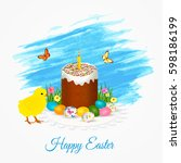 easter greeting card with... | Shutterstock .eps vector #598186199