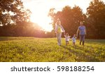 happy family running together... | Shutterstock . vector #598188254