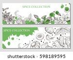 vector brochures with hand... | Shutterstock .eps vector #598189595