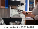 famale barista is preparing... | Shutterstock . vector #598194989