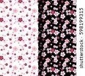sakura blossom pattern set on... | Shutterstock .eps vector #598199315