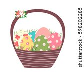 brown easter basket with... | Shutterstock .eps vector #598202285