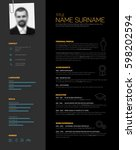 vector minimalist dark gray cv  ... | Shutterstock .eps vector #598202594