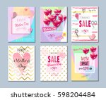 set of valentine's day  mothers ... | Shutterstock .eps vector #598204484
