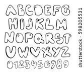 doodle latin alphabet. hand...   Shutterstock .eps vector #598205531