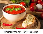 fresh  healthy tomato soup with ... | Shutterstock . vector #598208405