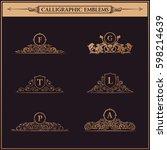 luxury logo monogram. vintage... | Shutterstock . vector #598214639