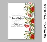 romantic pink peony bouquet... | Shutterstock .eps vector #598218005