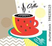coffee cup logo poster. art... | Shutterstock .eps vector #598230125