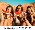 best friends having fun on the... | Shutterstock . vector #598230275