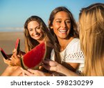 best friends having fun on the... | Shutterstock . vector #598230299