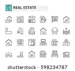 outline icons about real estate.... | Shutterstock .eps vector #598234787