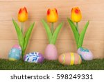 colorful painted easter eggs... | Shutterstock . vector #598249331