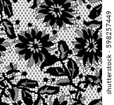 seamless black vector lace... | Shutterstock .eps vector #598257449