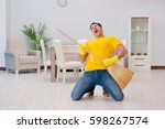 funny man playing virtual... | Shutterstock . vector #598267574