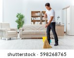 man husband cleaning the house... | Shutterstock . vector #598268765