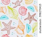 seashells  starfish  marine... | Shutterstock .eps vector #598270415
