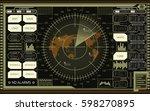 abstract digital radar screen... | Shutterstock .eps vector #598270895
