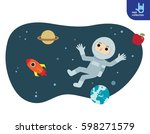 astronauts floating outside the ... | Shutterstock .eps vector #598271579