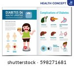 fat woman with diabetes.... | Shutterstock .eps vector #598271681