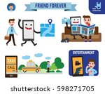 smartphone is a friend to... | Shutterstock .eps vector #598271705